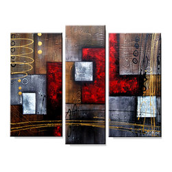 None - 'Abstract 407' 3-piece Gallery-wrapped Hand Painted Canvas Art Set - Artist: Unknown Title: Abstract 407 Product type: Hand painted 3-piece gallery wrapped canvas art set