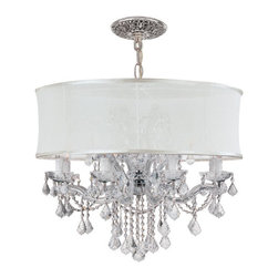 Crystorama Lighting Group - Brentwood Polished Chrome Twelve-Light Chandelier with Swarovski Strass Crystal - -Draped in Clear Swarovski Strass Crystal.  -Accented with a Smooth Antique White Silk Shade. Crystorama Lighting Group - 4489-CH-SMW-CLS