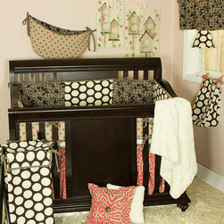 Cotton Tale Designs - Raspberry Dot 8 Piece Crib Bedding Set - A quality baby bedding set is essential in making your nursery warm and inviting. All Cotton Tale patterns are made using the finest quality materials and are uniquely designed to create an elegant and sophisticated nursery. Wonderful color texture in cream, chocolate, and bright Raspberry Dot. The Raspberry Dot 8 Pc Set includes 4 pc Crib Bedding(dust ruffle, crib sheet, bumper, coverlet), Diaper Stacker, Toy Bag, Valance, Pillow Pack. Patched, sectional bumper with Raspberry Dot back. Sheet in soft minky. Bed skirt in Raspberry stylized animal print. Coverlet in faux rabbit skin with minky back. Big, Big dots in chocolate and cream make the Raspberry Dot Diaper Stacker. It holds up to 6 dozen newborn diapers. 100% prewashed cotton with Raspberry Dot Trim. Two pillows make up this fun pack. One in Raspberry animal print, the other in faux rabbit fur. Measuring 15x15 and 12x12. Sold as a pack and specifically for decorative purpose only, never in the crib. Spot clean only. Combination of cotton and polyester with poly fill. . The Raspberry Dot Toy Bag is the perfect accessory for your nursery. This toy bag can be hung on the wall for decoration or on the changer to hold supplies. Made in Raspberry dot fabric and lined with chocolate and ivory vine fabric. The Raspberry Dot Valance is chocolate vine with Raspberry ties to attach to a decorative rod. Valance measures 55 x 16. Machine wash cold water, gentle cycle, separately. Tumble dry low or hang to dry. A great, fun set for our baby girl's nursery. Wash gentle cycle, separate, cold water. Tumble dry low or hang dry.