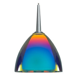 "Bruck Lighting - Zonyx Rainbow II Pendant Light w Dichroic Rainbow Glass - Pictured in Matte Chrome. Glass Color: Dichroic Rainbow Glass120V AC input. Accommodates 40W Max G9 Lamp(Not included). Suitable for dry location only. Dimmable. Overall Dimensions: 3.5"" H x 4.5"" Dia. Technical SpecsThe Zonyx Rainbow II comes with two glass shades, the inner cased glass is frosted white. The outer glass can be clear with a dichroic coating or with colored glass. The dichroic coated glass has a liquid mercury-like finish when off but when lit will show a fusion of dichroic colors. The Zonyx Rainbow II includes an integral Zonyx adaptor for Zonyx track. Standard cable length of 59 inches from ceiling to top of glass, can be field-cut."