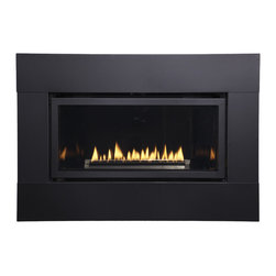 Empire Comfort - Loft Series Medium Direct Vent Millivolt Fireplace Package, Black, Liquid Propan - Designed for in-wall or mantel installation, Loft fireplaces feature state-of-the-art technology for extraordinary performance. Flickering yellow flames dance atop the linear burner reflecting light off the glass and the porcelain liner to create a nearly infinite flame effect - making your Loft fireplace mesmerizing from any angle.