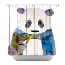 DiaNoche Designs - Shower Curtain Artistic - Panda - DiaNoche Designs works with artists from around the world to bring unique, artistic products to decorate all aspects of your home.  Our designer Shower Curtains will be the talk of every guest to visit your bathroom!  Our Shower Curtains have Sewn reinforced holes for curtain rings, Shower Curtain Rings Not Included.  Dye Sublimation printing adheres the ink to the material for long life and durability. Machine Wash upon arrival for maximum softness. Made in USA.  Shower Curtain Rings Not Included.