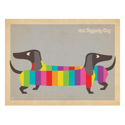 "Anderson Design Group - The Mod Collection: Rainbow Dogs Gallery Print - This dog-gone delightful print is our top-seller. It features a colorful pair of sweater-wearing wiener dogs rendered in the modern style made popular in the 1950s and 1960s. Decorate with this colorful print and your walls will be shouting ""Hot-Diggedy-Dog!"" Original, hand-illustrated design from Anderson Design Group in Nashville, TN."