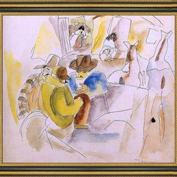 """Art MegaMart - Jules PascScene Southern States - 16"""" x 20"""" Jules Pascin Scene from the Southern States framed premium canvas print reproduced to meet museum quality standards. Our Museum quality canvas prints are produced using high-precision print technology for a more accurate reproduction printed on high quality canvas with fade-resistant, archival inks. Our progressive business model allows us to offer works of art to you at the best wholesale pricing, significantly less than art gallery prices, affordable to all. This artwork is hand stretched onto wooden stretcher bars, then mounted into our 3 3/4"""" wide gold finish frame with black panel by one of our expert framers. Our framed canvas print comes with hardware, ready to hang on your wall.  We present a comprehensive collection of exceptional canvas art reproductions by Jules Pascin."""