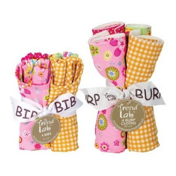 Trend Lab Sherbet Bib & Burp Cloth Bouquet Set - Minimize mess with the Trend Lab Sherbet Bib & Burp Cloth Bouquet Set. This great set includes four bibs and four burp cloths each with a cute, colorful print in rainbow sherbet colors of pink, orange, and green. The bibs feature Velcro closures so they stay in place. Each bib measures 9 x 12 inches and each burp cloth measures 13 x 10 inches. This set coordinates with the Trend Lab Sherbet Crib Bedding Set and accessories.About Trend LabFormed in 2001 in Minnesota, Trend Lab is a privately held company proudly owned by women. Rapid growth in the past five years has put Trend Lab products on the shelves of major retailers, and the company continues to develop thoroughly tested, high-quality baby and children's bedding, decor, and other items. Trend Lab continues to inspire and provide its customers with stylish products for little ones. From bedding to cribs and everything in between, Trend Lab is the right choice for your children.