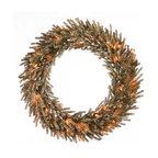 "Vickerman - Mocha Wreath 35CL (24"") - 24"" Mocha Wreath 580 PVC Tips, 35 Clear Mini Lights"
