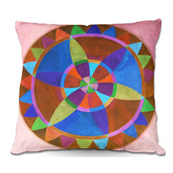 DiaNoche Designs - Pillow Woven Poplin from DiaNoche Designs by Jennifer Baird - Mandala I B - Toss this decorative pillow on any bed, sofa or chair, and add personality to your chic and stylish decor. Lay your head against your new art and relax! Made of woven Poly-Poplin.  Includes a cushy supportive pillow insert, zipped inside. Dye Sublimation printing adheres the ink to the material for long life and durability. Double Sided Print, Machine Washable, Product may vary slightly from image.