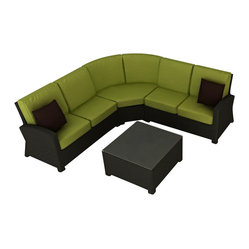 Barbados 4-Piece Modern Patio Sectional Set, Kiwi Cushions