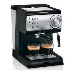 Hamilton Beach - Hamilton Beach - Espresso Maker - Cafe quality results. No-fuss milk frother lets you enjoy cappuccino too. Powerful 15-bar Italian pump. Simple push-button operation. Easy-fill removable water reservoir. Works with easy serving espresso pods or ground coffee