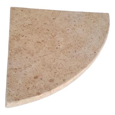 "Stone Zone - 8"" Travertine Shower Corner Shelf (Cafe Noce) Stone Bathroom Caddy Soap Dish - ***Cafe Noce Travertine Shower Corner Shelf***"