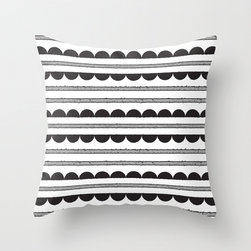 "Half-Moon-Pattern Throw Pillow by Heidi Gosen - I'm a sucker for anything black and white, and this half-moon pattern has my heart. It's on trend without feeling ""trendy,"" and the color palette (or lack thereof) is classic enough to last for years."