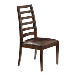 TerraSur - Melrose Tall Side Chair - This solid wood chair features a tapered ladder back and leather upholstered seat.  Made in Argentina.