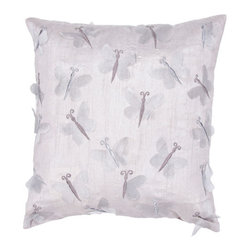 Jaipur - Whisper Gray 18-Inch Square Pillow - - Soft shades of neutral and dusty pastel are the cornerstone of this whimsical feminine range of pillows made from poly dupione. The collection features imagery of butterflies florals and birds  - Cleaning and Care: Remove the throw pillow's cover if it is removable. Wash the cover separately from the pillow. Pre-treat badly soiled or stained areas on the pillow cover with a color-safe prewash spray. Rub the spray into the stain with a damp sponge. Wash the pillow cover or the whole pillow on a gentle-wash cycle in warm water with a very mild detergent. Detergent for delicate fabrics or baby clothes is usually suitable. Remove the pillow or pillow cover as soon as the washing machine has ended the cycle and has shut off. Hang the pillow or cover up to dry in a well-ventilated area. If the care label specifies that the item is dryer-safe place the pillow or pillow cover in the dryer and tumble dry on low heat. Fluff the pillow once it is dry in order to maintain its form. Don't use the pillow until it is completely dry. Damp pillows will attract dirt more easily  - Construction: Handmade  - It is Sustainable Jaipur - PLC100110