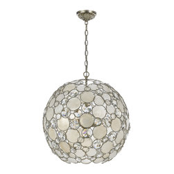Crystorama - Palla Chandelier, Large - Like an overturned enchanted goblet, this fabulous fixture drenches your decor with dazzling light. Circles of sparkle surrounded by silver-leaf wrought iron descend from a chain to make a stunning statement in your decor.