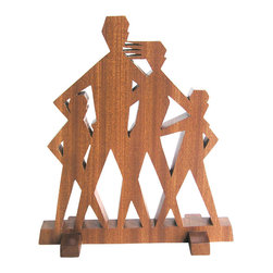 "Frederick Arndt Artworks LLC - Mid Century Modern Family Wood Sculpture - with Two Sons - This is a wonderful mid-century modern inspired wood sculpture made from mahogany hardwood. It measures 8"" high x 9"" wide x 3/4"" thick. It has been clear coated to ensure a long lasting quality finish. This piece would make a great addition to any modern home. This item is made-to-order, and as such, it is subject to lead times of 4-7 weeks."
