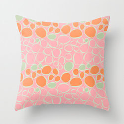"Fiona Pink Orange Green Accent Throw Pillow - 16 x 16"" $20"