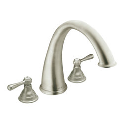 """Moen - Moen T920BN Brushed Nickel Roman Tub Trim 8""""-16"""" Two Lever Handles, ADA - Moen T920BN is part of the Kingsley bath collection. Moen T920BN has a Brushed Nickel finish. Moen T920BN is a roman tub trim 3-hole 8"""" - 16"""" installation. Roman Tub faucet is a deck-mount with 9"""" long and 9 15/16"""" high arc spout for conventional styling. Moen T920BN Roman Tub Trim fits the MPact common valve system, and requires Moen's 4992 or 4993 valve. Valve sold separately. Moen T920BN is approved by ADA. Brushed Nickel is an exclusive finish from Moen and provides style and durability. Moen T920BN metal lever handle meets all requirements ofADA ICC/ANSI A117.1 and CSA B-125, ASME A112.18.1M. Lifetime Limited Warranty and 5 Year commercial"""