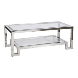 Worlds Away - Worlds Away Two Tier Polished Stainless Steel Coffee Table WINSTON N - Polished stainless steel two tier coffee table with clear beveled glass.