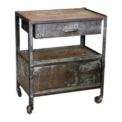 Metal Rolling Industrial Cart - A vintage cart on casters, featuring a sliding shelf and a slide out drawer. Add some shiny bottles and this piece will make a great dry bar!