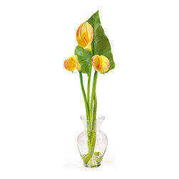 Nearly Natural - Nearly Natural Calla Lilly Liquid Illusion w/Leaf Silk Flower Arrangement in Yel - Treat yourself and your home to the classic beauty of calla lilies. This calla lily silk arrangement features three brilliantly arranged stems. Delicate and graceful this gorgeous item stands 24 inches; tall and comes in your choice of 3 charming colors: Cream, gold, and pink. One deep green leaf was added as a perfect finishing touch as it stands boldly behind the lilies. This item sits nestled in a classic glass vase with artificial water. Incredibly elegant, this silk calla lily arrangement is made to enhance any setting. Color: Yellow, Height: 24 inches.