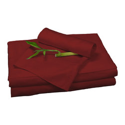 BedVoyage - Sheet Set, Cayenne, Queen - BedVoyage Bamboo Bed Sheets are made from 100% bamboo viscose, are subtly cool and extremely breathable, with a feel softer to the touch than a 1,000 thread-count Pima cotton. The linens will not pill nor fade. Bamboo is an easy care and durable fiber, and those with sensitive skin will benefit from the round bamboo fibers which are extremely smooth against the skin. Sheet sets include a deep-pocket fitted sheet, a flat sheet, and two pillowcases (1 for Twin size).