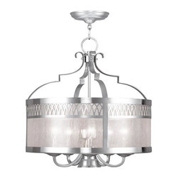 Livex Lighting - Westfield Brushed Nickel Five-Light Pendant - Seeded Glass  -3 ft. of chain and 10 ft. of wire  -Canopy: 6 Dia  -Uplight/Downlight 3-Way Switch Included Livex Lighting - 4735-91