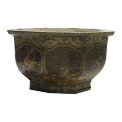 Golden Lotus - Huge Chinese Antique Octagonal Animal Hand Painting Flower Tree Pot - This is a Chinese antique big pot which is made of clay.  Its around has animal hand painting on it.  It was used to put big plant tree at front of house or garden as Fenshui purpose in China, right now it can be decorate your garden.