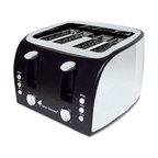 "Multi-Function Maxabiner - 4-Slice Multi-Function Toaster With Adjustable Slot Width, Black/Stainless Steel - Four slice capacity for a busy kitchen. Adjustable slot width can accommodate bagels. Electronic independent control panel that includes lighted Toast, Defrost, Reheat and Cancel indicators. Variable heat settings allow you to customize the browning level. Includes easy to empty crumb tray. Grounded commercial cord. Number of Slices: 4; Width: 12""."