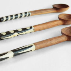 Kenya Spice Spoons - Three distinct Kenya Spice Spoons come packaged and make a wonderful hostess gift or the perfect addition to any kitchen. These three hand-carved spoons are finished with horn detailed handles and are individually made. They are perfect for spices, salts, coffee, tea, sugar, or just as all around useful and stylish kitchen tools. They arrive beautifully wrapped and perfect to gift.