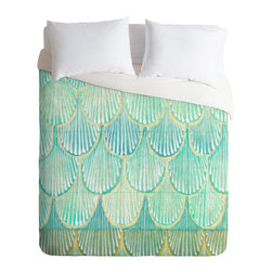 DENY Designs - Cori Dantini Turquoise Scallops Duvet Cover - Turn your basic, boring down comforter into the super stylish focal point of your bedroom. Our Luxe Duvet is made from a heavy-weight luxurious woven polyester with a 50% cotton/50% polyester cream bottom. It also includes a hidden zipper with interior corner ties to secure your comforter. it's comfy, fade-resistant, and custom printed for each and every customer.