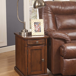 Signature Design by Ashley - Signature Designs by Ashley Chairside End Tables with Power and USB Charging Por - A rich brown stain adds a traditional look to this convenient end table. With a hidden USB port power strip and cup holders,this table is the perfect addition to your home decor.