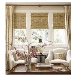 Woven Wood Shades with Fabric Window Treatments - I love the classic look of woven wood shades with fabric window treatments. Warm & Fuzzy! Woven wood shades will provide privacy & sun protection while adding a textured design element to your space. Framing the window with fabric drapery panels will add dimension & warmth to your space.