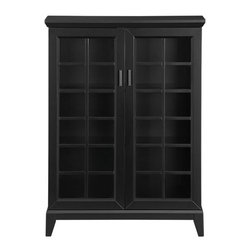 """Paterson Black 36.5"""" Two Door Cabinet - Our architectural Paterson collection is inspired by built-in cabinetry from turn-of-the-century homes. Contemporary cabinet with a touch of cottage styling features stepped moulding, elegant tapered legs, a black lacquer finish and square antiqued bronze pulls. Arts-and-Crafts–style windowpane doors open to two adjustable shelves behind."""