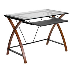 Flash Furniture - Flash Furniture Glass Computer Desk in Black and Cherry - Flash Furniture - Computer Desks - NANJN2824SGG - This attractive Glass Computer Desk provides a compact solution for your computer furniture needs. The glass top and cross frame design provides a modern appeal. The design of this desk is sure to complement any work space.