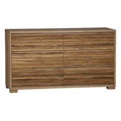 Sierra Six-Drawer Dresser - Sierra's richly textured horizontal slats line up for a distinctive storage collection equally suited to the bedroom or living area. Strips of teak, repurposed from production fall-off scraps, are steel-brushed to bring out the natural tone and texture of the grain, then pieced into drawer panels. Solid European white oak frames each unit to beautiful effect. Drawers have integrated pulls.