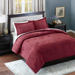 Avenue 8 - Avenue 8 Microsuede Comforter Mini Set - Add warmth and style to your current d̩cor with this solid Microsuede Comforter Mini Set. The comforter features a solid red brushed microsuede fabric that has pick stitching details and a subtle circular tacking pattern to enhance this look. The sham(s) coordinate back to the comforter with the same pick stitch detail with a clean flange finish. Both reverses to a solid tan color made of soft microfiber fabric. 100% Polyester Micro suede
