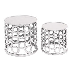 Benzara - Set of 2 Aluminium Stool with Metallic Finish - Exemplifying excellence and perfection, this Aluminum Stool (Set of 2) 17 in. , 14 in. H is a perfect match for contemporary and urbane home settings. This elegant stool is high on style and functionality which will stand out amidst clutter of furniture in your room. Featuring a solid cylindrical construction, the base of these stools is designed with radial cut-out patterns for added visual appeal. The shimmering metallic finish on this stool set perfectly matches the attractive cut-out pattern and lends finesse and verve to the design. Carefully crafted from premium grade aluminum metal, this set of two stools seamlessly combines durability with reliable functionality. As aluminum metal is resistant to corrosion and other weather induced damage, these stools are sure to retain their dazzling visual appeal for years to come..