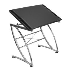 Studio Designs - Executive Craft Station - Beautiful Faux Leather finish. 4 Removable Side Trays for supplies. Top angle adjusts from flat to 50 in.. Heavy Gage Steel Construction For Durability. Chrome Legs resist scratching. Four floor levelers for uneven surfaces. Main Work Surface: 36 in. W x 24 in. D. Overall Dimensions: 41 in. W x 24 in. D x 30.5 - 47 in. H (35 lbs) at full tilt