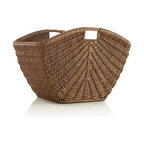 Sunburst Storage Basket - Warm honey finish brings out the beautiful handcrafted weave of this novel basket worked into a spacious semicircle shape. Integrated side handles make for easy carrying.