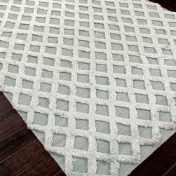 Notion Mineral Flat Weave Rug - 2' x 3' - Cool greys in contrast serve to further set apart the different textures in the Notion Mineral Rug � a floor covering that stretches the definition of high-low pile to its fashionable limit.  Set an instantly eclectic tone when you spread this textured rug in an entryway or elevate a seating area to a plush, personable space when you add this rug to its unique look.