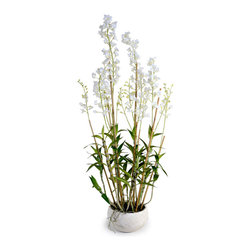 New Growth Designs - Dendrobium Orchid Arrangement - A new reality show. This surprisingly lifelike replica of a dendrobium orchid mimics the real thing — from the new buds at the tips of the stalks — to the wandering roots outside of the pot. With quiet beauty, this orchid could take up a starring role on your desk, coffee table or console.