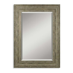 "Uttermost - Uttermost Miscellaneous Decorative Mirror in Wood - Shown in picture: This solid wood frame features a lightly distressed silver leaf finish with black undertones and light gray glaze. Mirror has a generous 1 1/4"" bevel.  MATERIAL: WOOD"