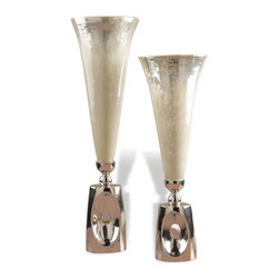 Kathy Kuo Home - Wooster Hollywood Regency Style Mercury Glass Silver Vases - Talk about a portrait in contrasts!  Tall mercury glass finished vessels, replete in their imperfect beauty rest upon perfectly polished nickel bases.  Distinctly modern in their attitude, the mercury glass gives a slightly nostalgic edge to this set.  Mid century modern, Hollywood regency, and even industrial modern spaces will find these two work wonderfully wherever they are placed.