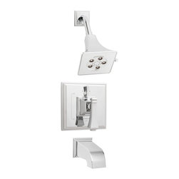 Speakman - Speakman Rainier Shower System with Diverter Valve and Tub Spout Polished Chrome - Speakman's Rainier Shower and Tub System Combination adds a unique square design to complete a bold look in the bathroom. The Rainier chrome faucet prevails a striking masculine update to your traditional styled bathroom fixtures. The newest design collection to the Speakman family; the Rainier Shower and Tub System Combination pairs with the Rainier collection of faucets and other bathroom accessories to present iconic exclusivity in any bathroom.