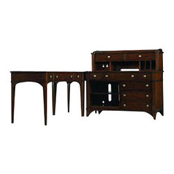 Hooker Furniture - Credenza/Printer Unit Only - Drag your office into the 21st century with this classic yet cool credenza. A blend of influences, this modern take on an office desk has five drawers on slides with a built-in filing system, a center drawer with a drop front for your keyboard and adjustable shelves.