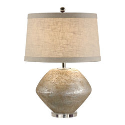 "Wildwood - Contemporary Wildwood Fiametta Terra Cotta Silver Table Lamp - Add some warm Mediterranean style to your decor with the Fiametta table lamp from Wildwood. Old silver finish on the terra cotta base has a lovely patina and texture. Classic bulb silhouette and a banded textured linen shade add style to this earthy yet sophisticated piece. Old silver finish. Terra cotta construction. Textured linen shade with banding. Takes one 100 watt bulb or equivalent (not included). 3-way switch. 27"" high. Shade is 16"" at top 18"" at bottom 11"" high.  Old silver finish.  Terra cotta construction.  Textured linen shade with banding.  Takes one 100 watt bulb or equivalent (not included).  3-way switch.  27"" high.  Shade is 16"" at top 18"" at bottom 11"" high."