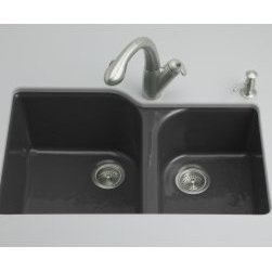 """Kohler - Kohler K-5931-4U-7 Black Executive Chef Executive Chef 33"""" Double - Product Features:Double basin sink with a 60/40 split provides increased versatility for any taskCovered under Kohler s limited lifetime warrantyHandle kitchen tasks like a professional with the Executive Chef sinkThe large/medium basins allow you to keep clean and dirty dishes separate, while providing ample room for oversized pots and pansConstructed of enameled cast-iron which combines strength, durability and insulation benefitsUnder-mount installation gives an integrated graceful look to the sinkOffset drain location increases workspace area in the sink as well as storage area underneathAll hardware needed for installation includedProduct Technologies / Benefits:Enameled Cast-Iron:  Kohler Enameled Cast-Iron combines the strength, durability, and insulation benefits of cast-iron with the scratch, chip, and burn resistance of a baked, powder coat finish and comes with an exceptional Lifetime Limited Warranty. When these materials are combined it gives the sink or tub the strength to last a lifetime of use. Kohler Enameled Cast-Iron is also available in a wide variety of specialty colors allowing you to truly customize your home.Product Specifications:Height: 10-5/8"""" (measured from the bottom of the sink to the top most point of the sink)Overall Width: 22"""" (measured from the back outer rim to the front outer rim)Overall Length: 33"""" (measured from the left outer rim to the right outer rim)Basin Width (left): 19"""" (measured from the back inner rim to the front inner rim)Basin Length (left): 16"""" (measured from the left inner rim to the right inner rim)Basin Depth (left): 9-3/4"""" (measured from center of the basin to the rim)Basin Width (right): 17"""" (measured from the back inner rim to the front inner rim)Basin Length (right): 1"""