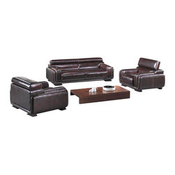VIG Furniture - 3919 Brown Top Grain Leather Sofa Set With Adjustable Headrests - The 3919 sofa set will add a modern touch to any decor while having you relax in comfort. This sofa set comes upholstered in a beautiful brown top grain leather in the front where your body touches. Carefully chosen match material is used on the back and sides where contact is minimal. High density foam is placed within the cushions for added comfort. Each piece comes with built-in adjustable headrests for that extra touch of relaxation. The sofa set includes one sofa, loveseat, and chair only.
