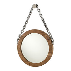 Kendrik Mirror - Reclaimed teak and over scale nickel details give a roughly-hewn silhouette, but sleek and polished finishes govern the look of the Kendrick Mirror. Suspended from a large wall knob and oversized nickel cable chain, the round frame provides crisp edges to contrast with the soft natural grain of the wood. Add natural glow even to a stark color scheme with this appealing wall mirror.