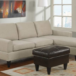 Poundex Furniture - Bobkona All in One Small Sectional Sofa Set - F7283 - Mushro - Contemporary/Modern Look